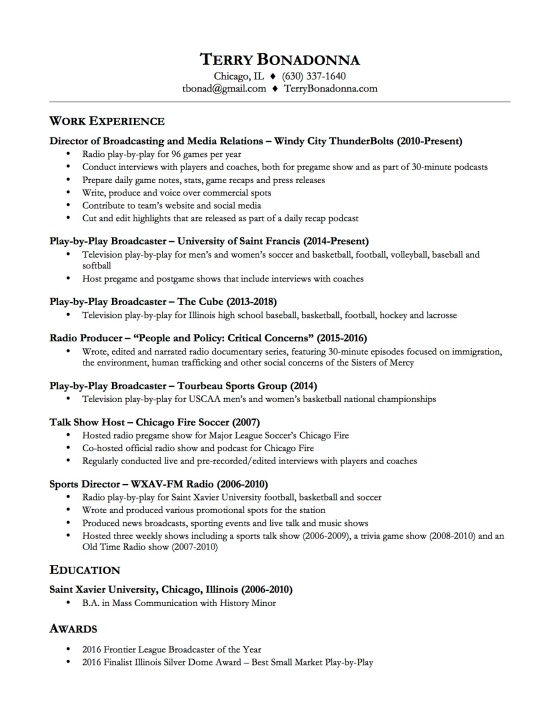 Terry Bonadonna Resume
